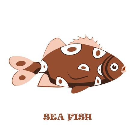 대양의: 흰색 배경에 바다 물고기의 색 그림 일러스트