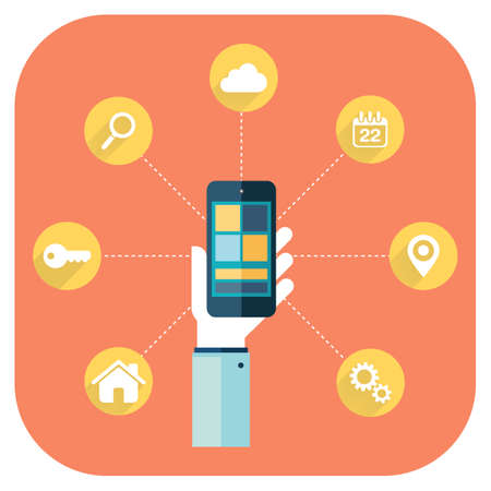 smartphone apps: Smartphone apps infographics with a hand holding a phone