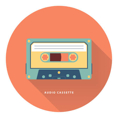 circle icon: Audio cassette circle icon. Flat vector illustration.