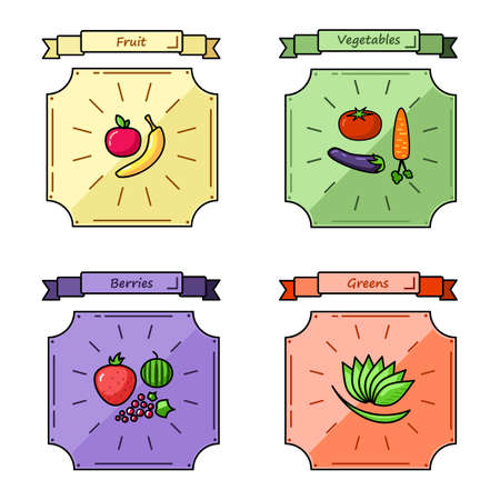 greens: Fruit, vegetables, berries and greens color vector illustration.