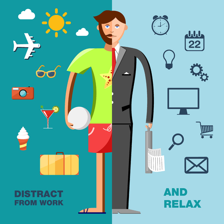 Color illustration with character in the office and on vacation with icons set Vector