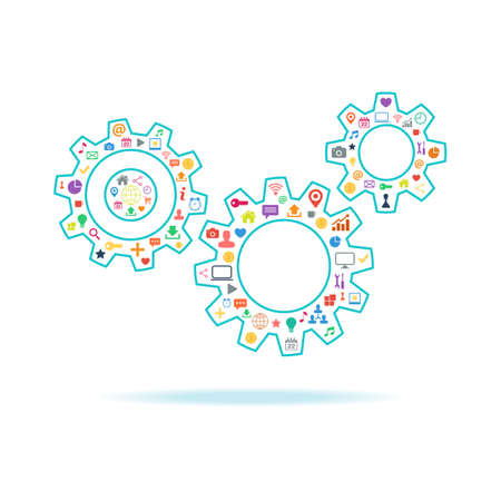 Gears vector illustration with color icons set on white background. Vector