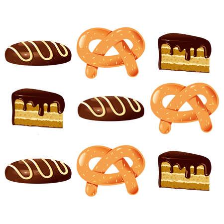 bagel: Bagel en gebak kleur vector illustratie op een witte achtergrond.