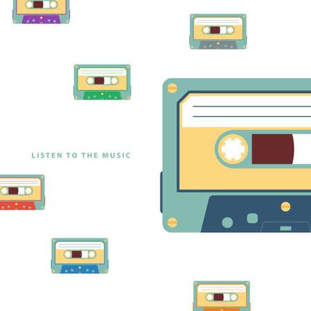 audio cassette: Audio cassette flat vector illustration on white background. Illustration