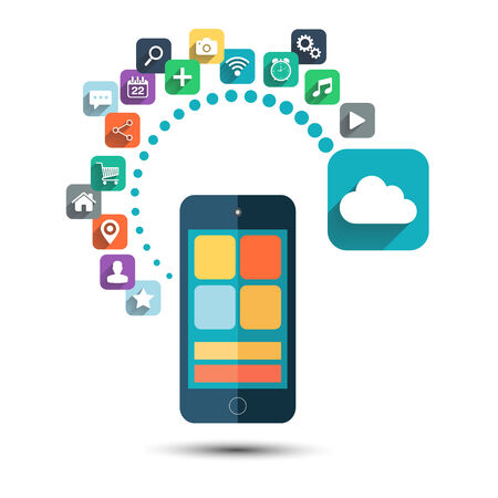 Cloud computing. Smart phone with icons set on white background. Vector