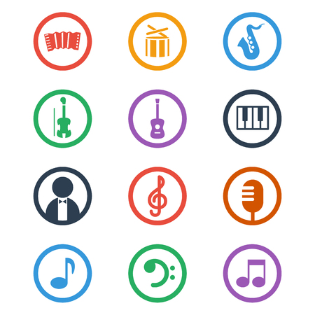Muziek iconen set. Kleur vector illustratie.