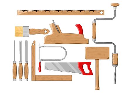 Carpenter tools. Color silhouette vector illustration. Vector