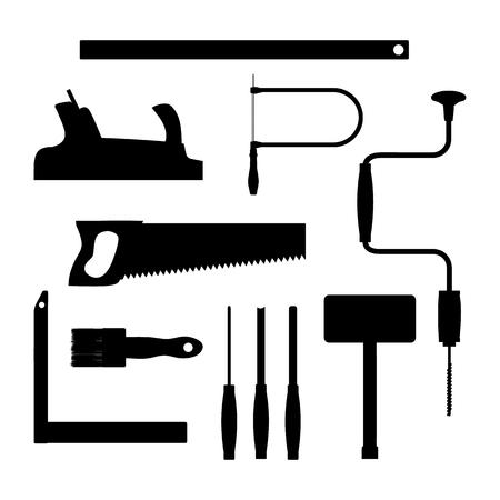 carpenter tools: Carpenter tools on white background. Black silhouette vector illustration. Illustration