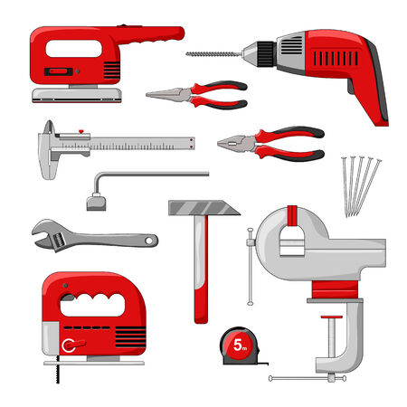 power tools: Electric power tools on white background. Color vector illustration. Illustration
