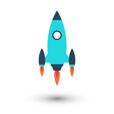 Flying rocket. Start up icon vector color flat illustration. 일러스트