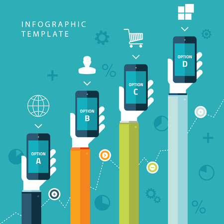 Info graphic template with hands holding phones for marketing plan, sales chart on blue background. Vector