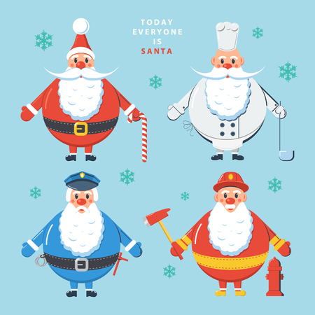 cartoon police officer: Today everyone is Santa. Design color vector illustration.