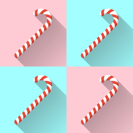 Christmas candy canes on color background with long shadow. Design vector illustration.
