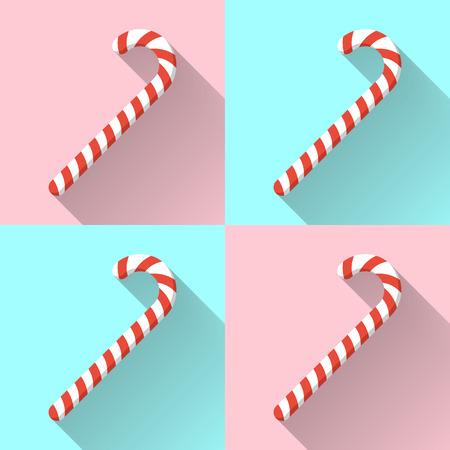 Kerst snoep stokken op een achtergrond kleur met een lange schaduw. Ontwerp vector illustratie. Stock Illustratie