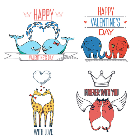 Cute hand drawn animals in love.Valentines day card with typography elements. Vector