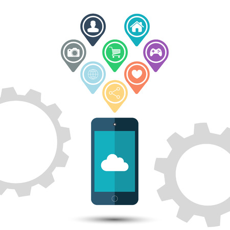 Cloud computing icon with color pointers and markers for map on white background.