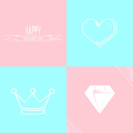 heart and crown: Valentines day illustration with heart, crown, diamond and typography design elements on color background.
