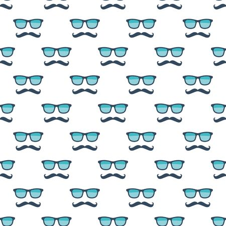 Bril en snor naadloos patroon. Stock Illustratie