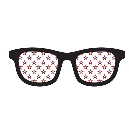 Glasses with american flag colors stars on white background.