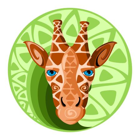 camelopardalis: Giraffe head. Design color vector illustration.