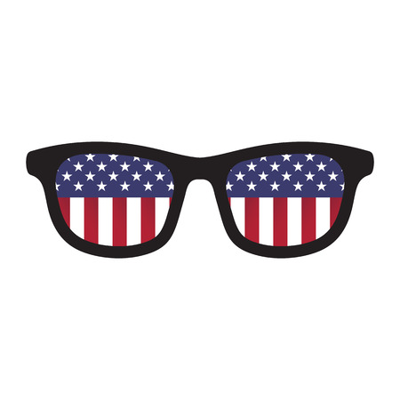 Glasses with american flag colors on white background.