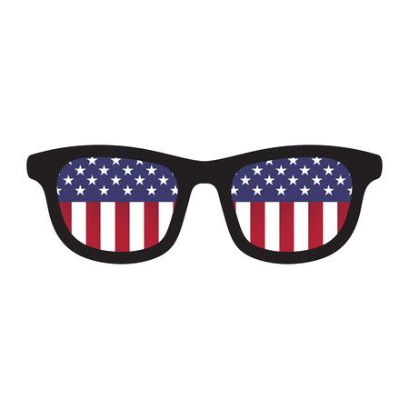 Glazen met Amerikaanse vlag kleuren op een witte achtergrond.