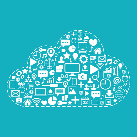 Cloud computing. White icons set on blue background vector illustration.