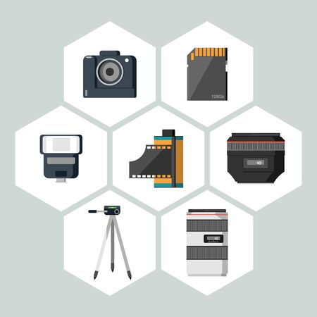 camera lens: Flat icons vector collection of photography equipment. Isolated on white background.