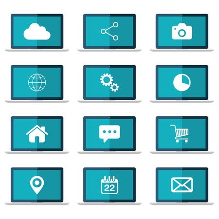 flat screen: Icons set on laptop screen. Flat vector illustration. Illustration