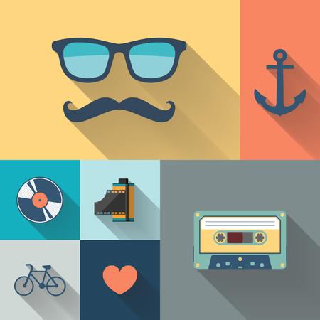 Hipster stijl objecten plat vector illustratie.