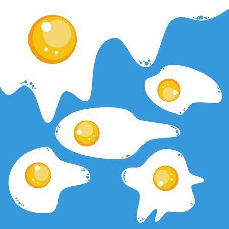 fritto: Uova fritte icona su sfondo blu. Vettoriali