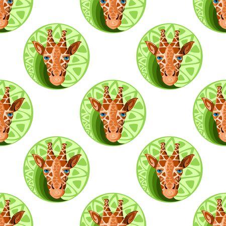 giraffa: Jirafas cabeza sin patr�n. Vectores