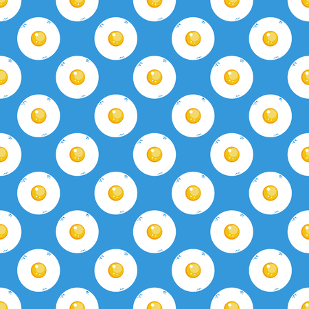 fried eggs: Fried eggs on blue background seamless pattern.