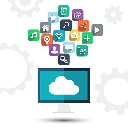 Cloud computing. Desktop computer en apps iconen op een witte achtergrond.