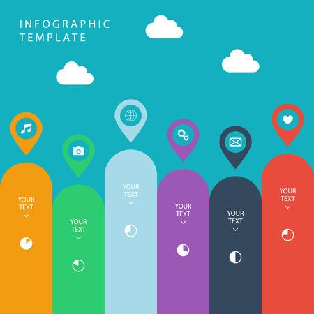 work flow: Infographic template for work flow layout, diagram, number options, web design, presentation on blue background.