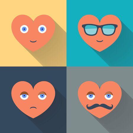 carita feliz caricatura: Corazones con gafas de sol, ojos, bigote y una sonrisa. Diseño de color ilustración vectorial plana con una larga sombra.