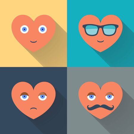 smiley face cartoon: Hearts with sunglasses, eyes, mustache and smile. Design color flat vector illustration with long shadow. Illustration