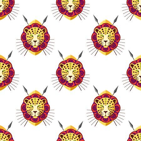 leopard head: Leopard head seamless pattern.