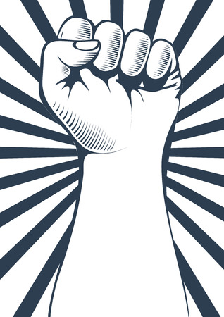 clenched fist: Vector illustration of a clenched fist held high in protest.