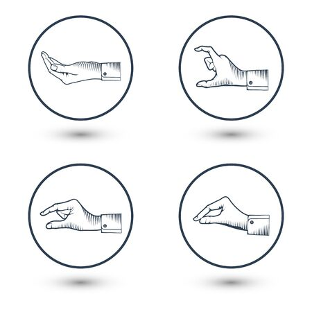 Hands gesture on white background with shadow vector illustration. Vector