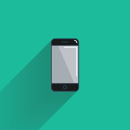 Smartphone flat icon with long shadow vector illustration. Vector