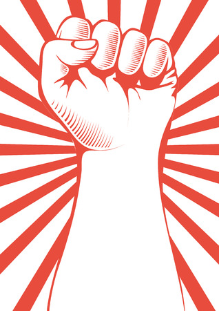 clenched: Vector illustration of a clenched fist held high in protest.