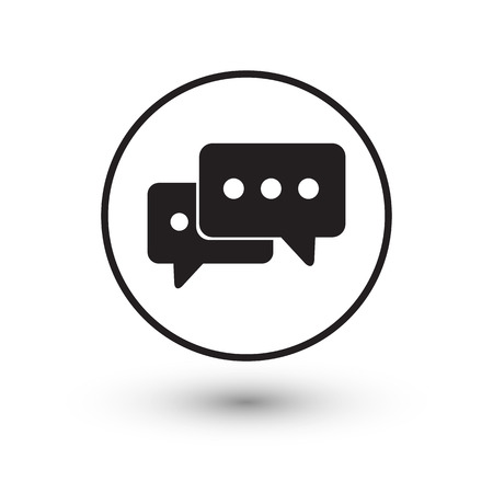 Black chat icon with shadow on white background vector illustration.