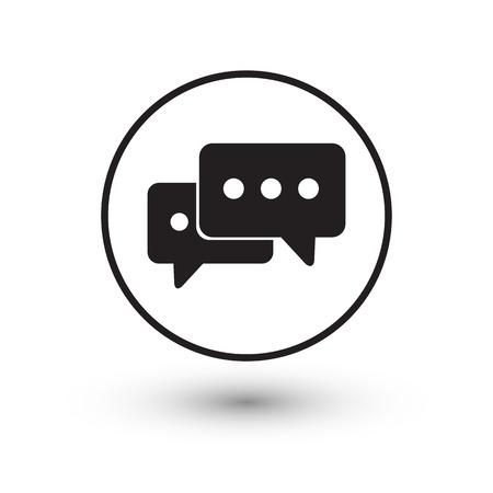 Zwarte chat icon met schaduw op een witte achtergrond vector illustratie. Stock Illustratie