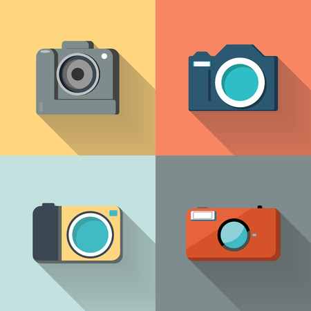Set of photo cameras on color background with long shadow. Flat design vector illustration. Ilustração