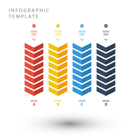 Color zigzag info graphic template in flat colors on white background.