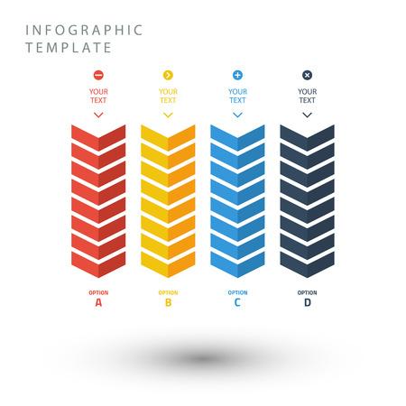 De zigzag info grafische sjabloon van de kleur in vlakke kleuren op witte achtergrond. Stock Illustratie