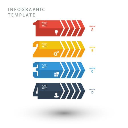 flecha: Info color plantilla gráfica en colores planos sobre fondo blanco.