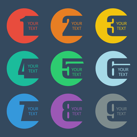 three colors: Numbers set. Design vector illustration.