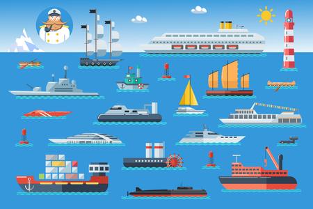 bateau: Big ensemble de navires de mer. transport de l'eau et le transport maritime dans le style de design plat. Vue de côté illustration vectorielle.
